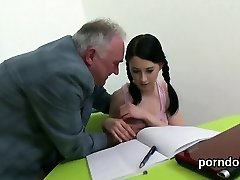 Harmless schoolgirl was tempted and pounded by her elderly t