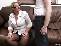 Xxl tits in uniform riding him at work