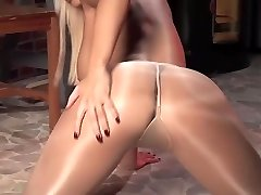 Blonde In Shining Pantyhose Teases