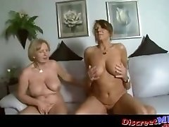 Two busty milfs in a threesome with one successful boy