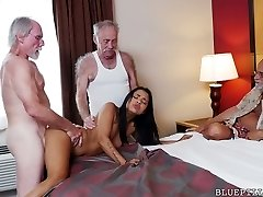 Heart stopping sweetie Nikki Kay pokes three horny aged farts