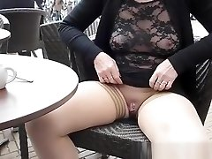 Flashing pierced puss and mammories in cafe