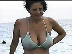 Natural Hefty Boobs in Public see through Bathing Suit