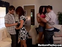 Stylish hotties fucking at swingers party