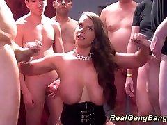 gang-bang with ginormous natural breast babe
