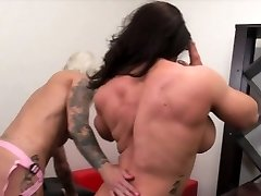 Dani Andrews Pokes Brandimae With A Belt Cock