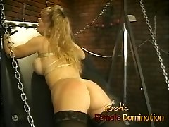 Curvy busty blondie slave gets her big ass flogged really