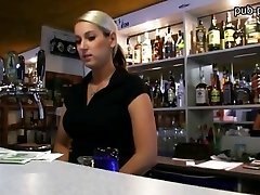 Ample boobs bartender chick pummeled at work