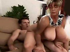 big tit cougar rides penis