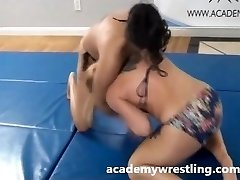 Tight Choke Submission Between Dominant Dame on academy wrestling