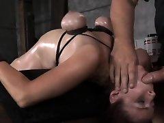 Breast bondage marionette bent backwards