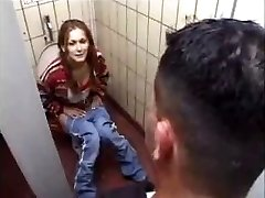 German Whore gets it on Toilet