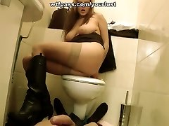 Light haired busty sex addict gives ORAL and titfuck in the dirty toilet