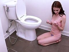 Redhead teen skank blacked brutally in a doggy position in toilet