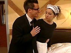 German maid drilled by two guys