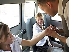 Schoolgirl in act on the bus