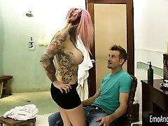Huge milk cans tattooed emo Sydnee Vicious railed by stepbro