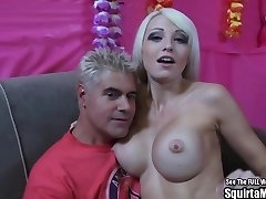 Rikki 6 Big Boob Blond Bimbo Squirts and Sucks Cock