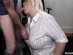 Hot blonde secretary office pummel