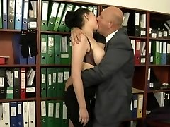 Secretary torn up by her much older boss