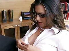 Big tittied secretary gives blowage to horny college principle