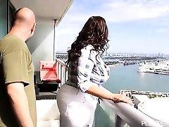 Lusty Latina Sofia Rose Nails on Miami Balcony