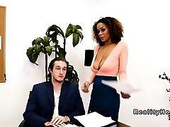 Meaty all-natural tits ebony fucks her boss