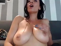 Horny mum cums on herself and lick it on web cam