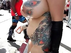 Huge-boobed mature exhibitionist with touching in public