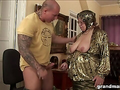 Fat ugly and turned on grandma gives a blowjob and rides strong cock