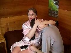 Elderly plump mom with saggy boobs & guy