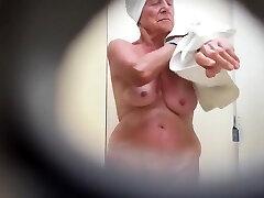 Grandma's saggy tits filmed in secret