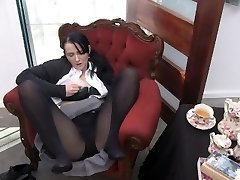 Youporn Female Director Series: Big Titty geek girl in pantyhose finishes off