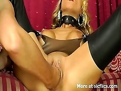Stunning blond luvs huge fisting climaxes