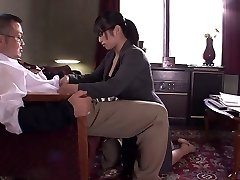 Office slut sucks and hooter fucks man's pole at work