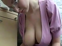 A Blonde with Ultra-cute Saggy Tits Working