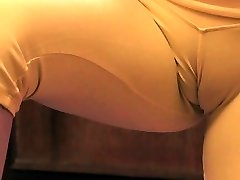 Huge-titted Blonde Teenage Exposing Giant Cameltoe