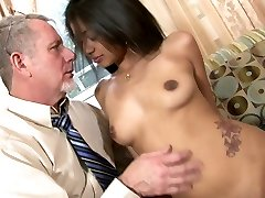 Delightful Indian beauty Ruby Rayes plays with big spunk-pump of senior man