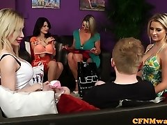 Bigtitted british femdoms tug sub in gang