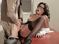 Black haired gorgeous chick in glasses Alexa Tomas got fucked on office table raunchy