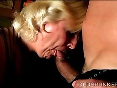 Chunky mature blond is a super hot fuck and can't live without facials