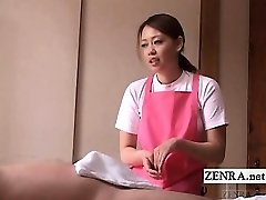 Subtitled CFNM Japanese caregiver elder boy handjob