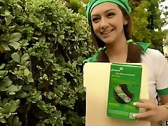 Adorable slim young chick in girlscout uniform enjoys rimjob