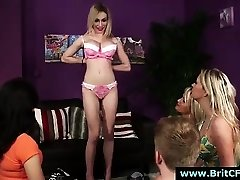 Gang of CFNM British girls in undergarments give striptease