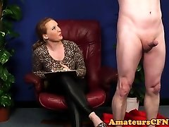 Busty cfnm femdom dicksucking restrained guy