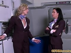 CFNM stewardesses buttfucked in 4some