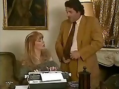 Hottie office assistant Babette gets fucked by her bosses and her mate