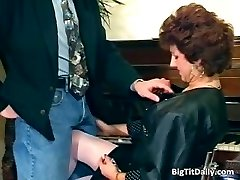 Nasty MILF maid deep throats on her bosses part5