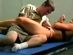 mixed wrestling fbb Christine Fetzer bodybuilder scissors part 2