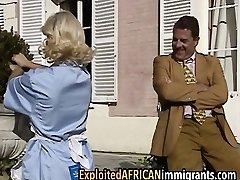 Vintage European interracial three way porn